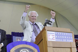 Doug Harvey at his induction into the Baseball Hall of Fame in 2010