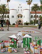 Students constructed can sculptures for Aztecs Rock Hunger.