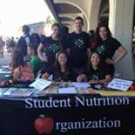 Current students advertize the Student Nutrition Organization.
