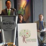 Interim Mayor Todd Gloria, SDSU President Elliot Hirshman, at food drive awards presentation