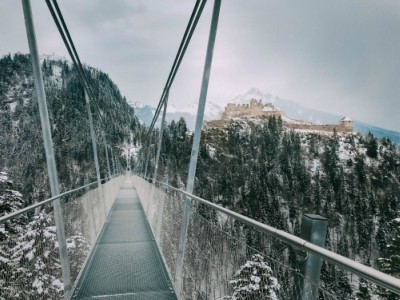 bridge and castle with snow